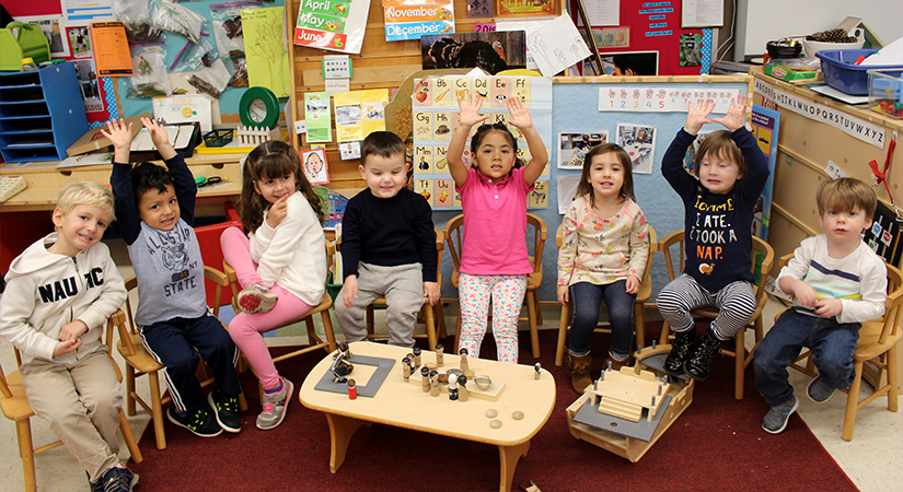 Pre-K students in class.