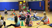 Students playing at gym class.